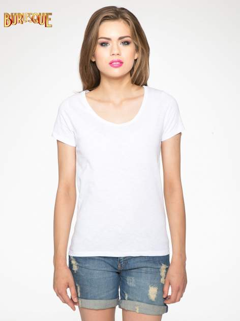 Biały półtransparentny t-shirt basic                                  zdj.                                  9