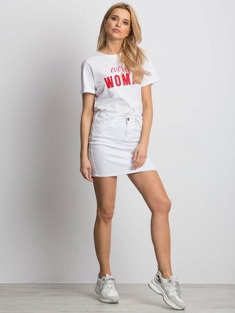 Bialy t-shirt EVERY WOMAN                              zdj.                              2