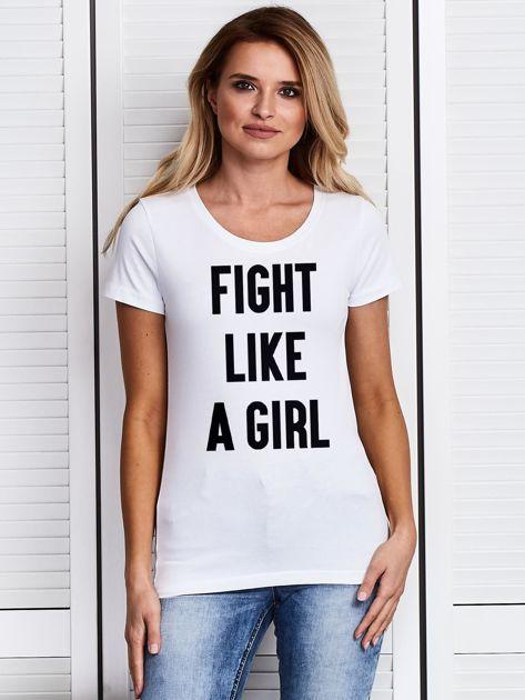Biały t-shirt FIGHT LIKE A GIRL z nadrukiem                              zdj.                              1