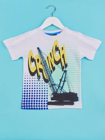 Biały t-shirt chłopięcy z industralnym nadrukiem                                  zdj.                                  1
