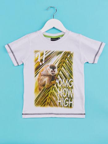 Biały t-shirt chłopięcy z małpką                                  zdj.                                  1