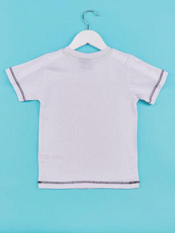 Biały t-shirt chłopięcy z małpką                                  zdj.                                  2