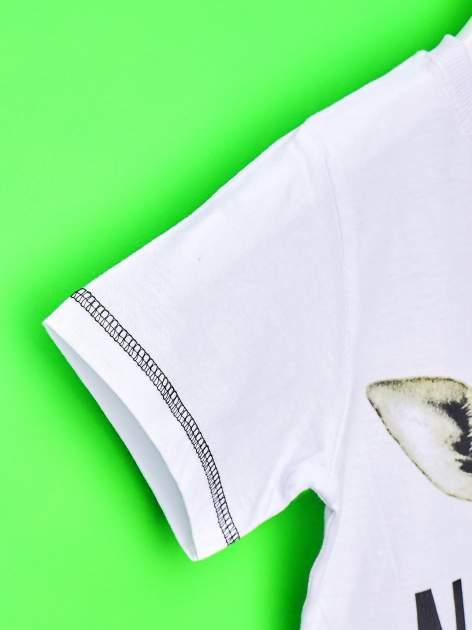 Biały t-shirt chłopięcy z żyrafą i napisem NO PICTURE                                  zdj.                                  6