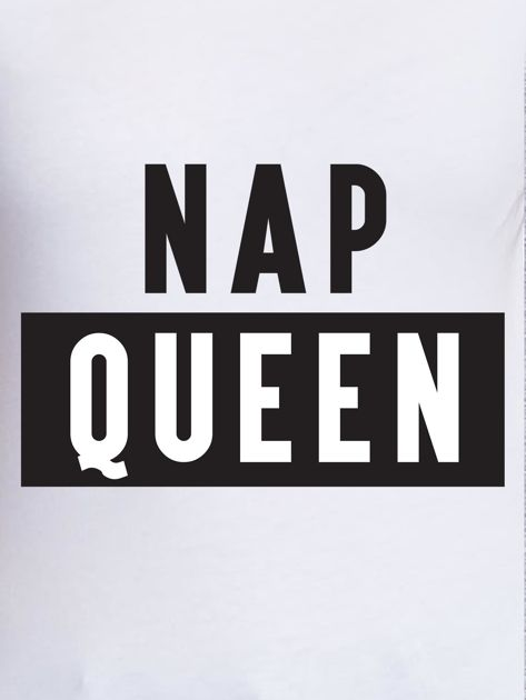 Biały t-shirt damski NAP QUEEN z napisem                                  zdj.                                  2