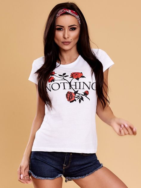 Biały t-shirt damski NOTHING                              zdj.                              1
