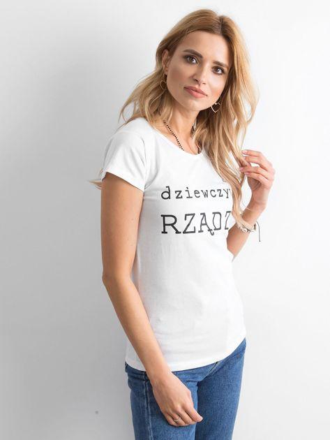 Biały t-shirt damski z napisem                              zdj.                              3