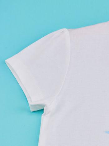 Biały t-shirt dla dziewczynki KRAINA LODU                                  zdj.                                  3