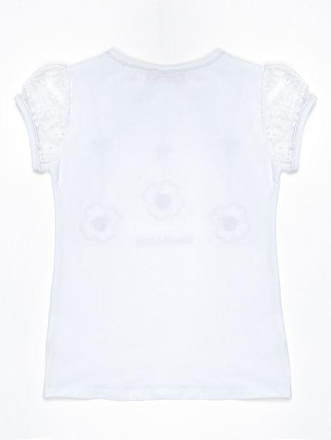 Biały t-shirt dla dziewczynki z biedronkami                              zdj.                              2