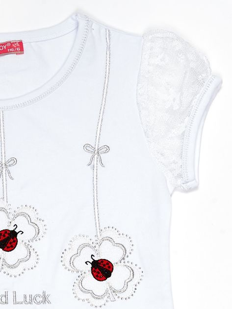 Biały t-shirt dla dziewczynki z biedronkami                              zdj.                              3