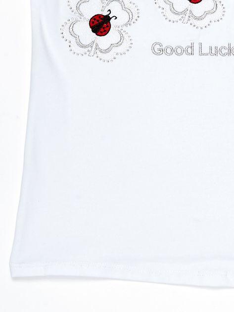 Biały t-shirt dla dziewczynki z biedronkami                              zdj.                              4