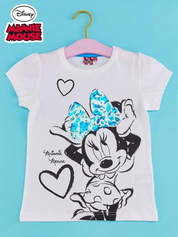 Biały t-shirt dla dziewczynki z cekinami MYSZKA MIKI                                  zdj.                                  1