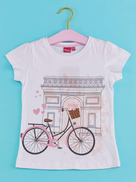 Biały t-shirt dla dziewczynki z motywem francuskim                                  zdj.                                  1