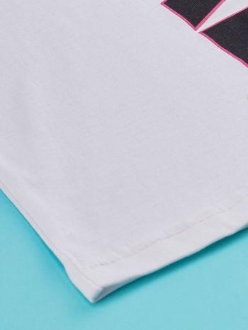 Biały t-shirt dla dziewczynki z napisem LOVE LIKE CRAZY                                  zdj.                                  3