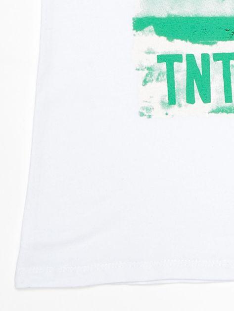 Biały t-shirt dziecięcy z napisami                              zdj.                              4