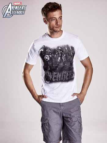 Biały t-shirt męski AVENGERS                                  zdj.                                  1