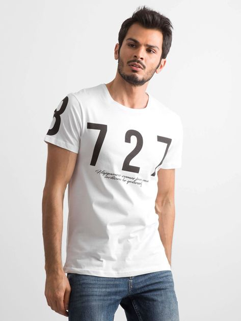 Biały t-shirt męski bawełniany z nadrukiem