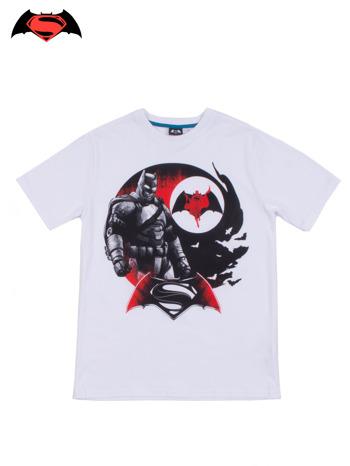 Biały t-shirt męski z motywem BATMAN V SUPERMAN