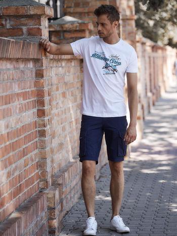 Biały t-shirt męski z nadrukiem napisów w sportowym stylu                                  zdj.                                  6