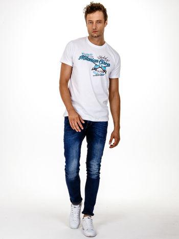Biały t-shirt męski z nadrukiem napisów w sportowym stylu                                  zdj.                                  5