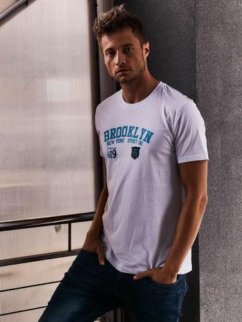 Biały t-shirt męski z napisami BROOKLYN NEW YORK SPIRIT 86                                  zdj.                                  1