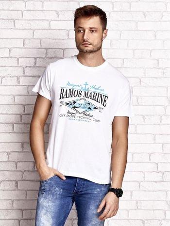 Biały t-shirt męski z napisami i kotwicą                                  zdj.                                  1