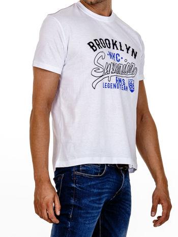 Biały t-shirt męski z napisem BROOKLYN NYC                                  zdj.                                  4