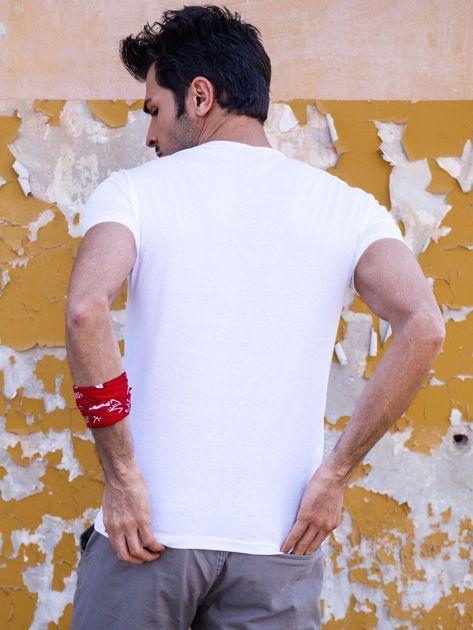 Biały t-shirt męski z orłem                              zdj.                              2