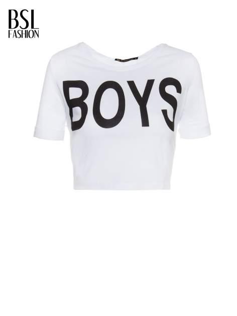 Biały t-shirt typu crop z napisem BOYS                                  zdj.                                  2