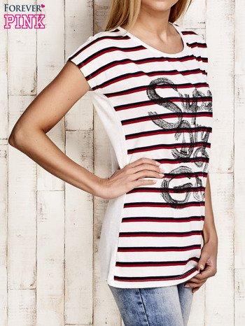Biały t-shirt w czerwone paski z napisem SUPER DRY GIRL                                  zdj.                                  3