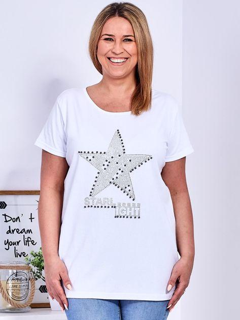 Biały t-shirt z błyszczącą gwiazdą PLUS SIZE                              zdj.                              1