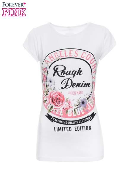 Biały t-shirt z dziewczęcym nadrukiem ROUGH DENIM                                  zdj.                                  2