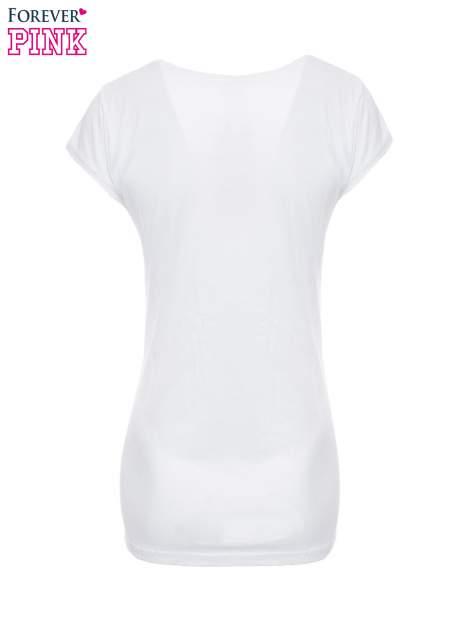 Biały t-shirt z dziewczęcym nadrukiem ROUGH DENIM                                  zdj.                                  5