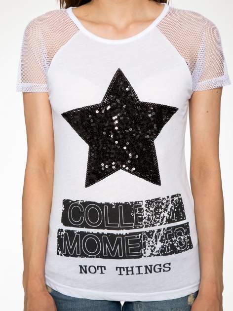 Biały t-shirt z gwiazdą z cekinów                                  zdj.                                  7
