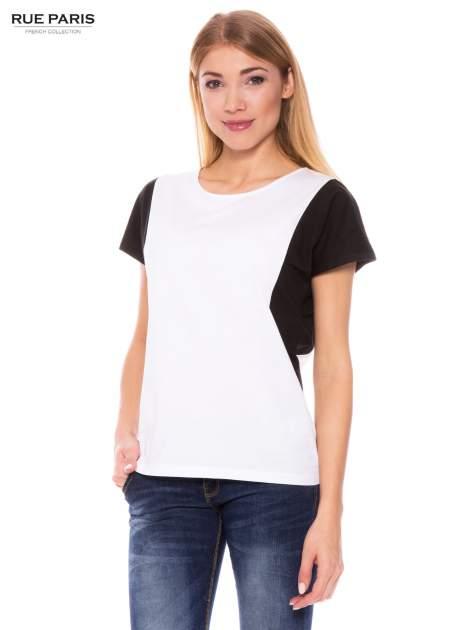 Biało-czarny bawełniany t-shirt damski                               zdj.                              1