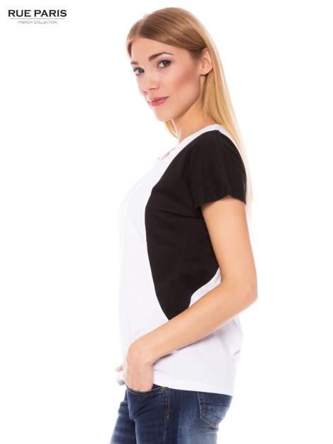 Biało-czarny bawełniany t-shirt damski                               zdj.                              2
