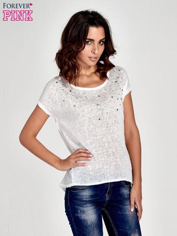 Biały t-shirt z kryształkami