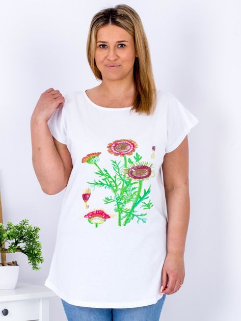 Biały t-shirt z kwiatowym printem PLUS SIZE                                  zdj.                                  1