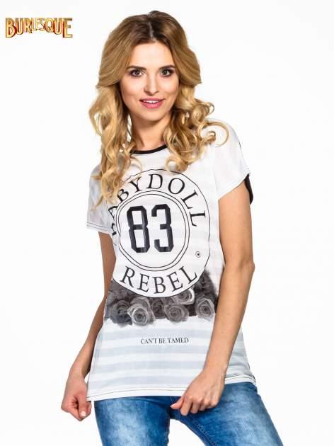 Biały t-shirt z nadrukiem BABYDOLL REBEL 83                                  zdj.                                  1