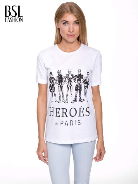 Biały t-shirt z nadrukiem HEROÉS IN PARIS                                  zdj.                                  1