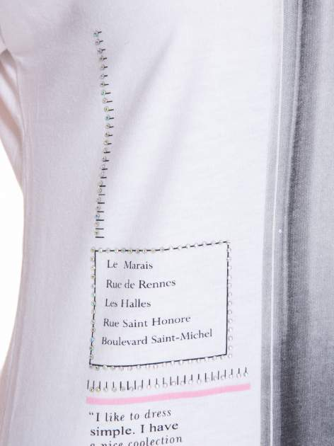 Biały t-shirt z nadrukiem fashion                                  zdj.                                  9