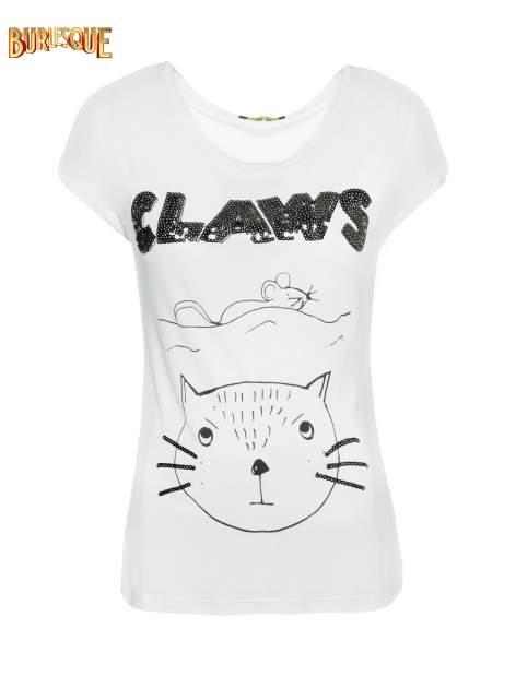 Biały t-shirt z nadrukiem kota i myszy