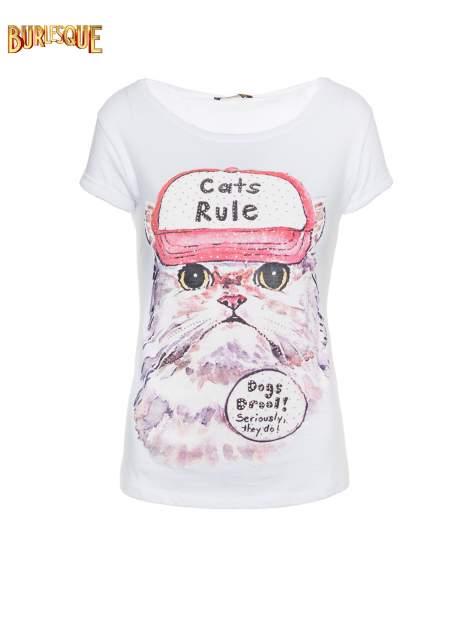 Biały t-shirt z nadrukiem kota i napisem CATS RULE                                  zdj.                                  7