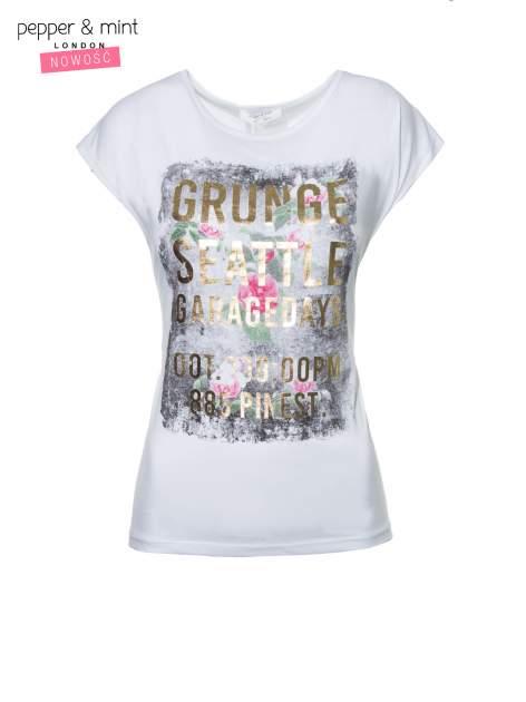 Biały t-shirt z nadrukiem kwiatowym i złotym napisem GRUNGE                                  zdj.                                  2