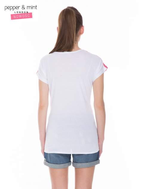Biały t-shirt z nadrukiem tekstowym i koronkową górą                                  zdj.                                  4