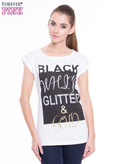 Biały t-shirt z nadrukiem tekstowym z efektem glitter