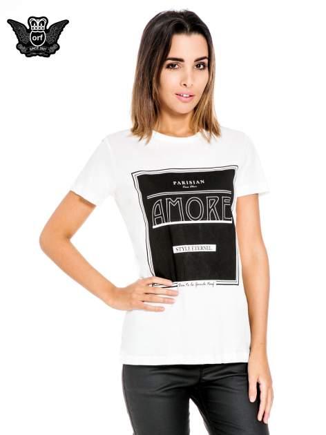 Biały t-shirt z napisem AMORE                                  zdj.                                  1