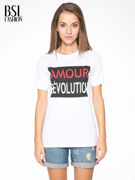 Biały  t-shirt z napisem AMOUR RÉVOLUTION