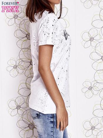 Biały t-shirt z napisem BONJOUR                                  zdj.                                  3