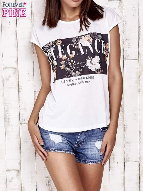 Biały t-shirt z napisem ELEGANCE                                  zdj.                                  1