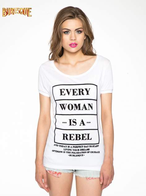 Biały t-shirt z napisem EVERY WOMAN IS A REBEL                                  zdj.                                  3